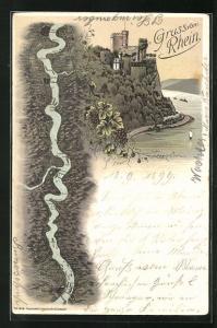 Lithographie Trechtingshausen, Burg Rheinstein mit Rhein