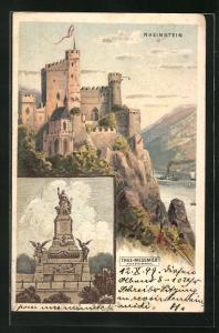 Lithographie Rheinstein, Denkmal