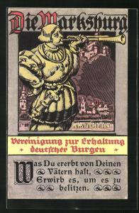 AK Braubach / Rhein, Trompeter vor der Marksburg