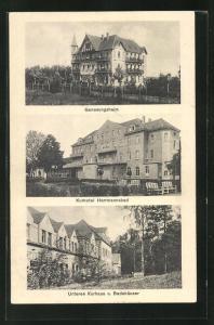 AK Bad Lausick, Genesungsheim, Kurhotel Hermannsbad, Unteres Kurhaus u. Badehäuser