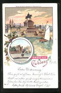 Lithographie Koblenz, Kaiser Wilhelm Denkmal d. Rheinprovinz, Die Burg an der Mosel