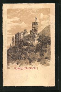 Lithographie Koblenz, Schloss Stolzenfels