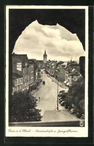 AK Trier a. d. Mosel, Simeonstrasse und Gangolfturm