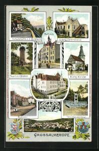 AK Grossalmerode, Amtsgericht, Rathaus, Schutzhütte a. d. Bilstein, Evang. Vereinshaus, Kriegerdenkmal