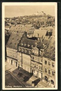 AK Coburg, Marktplatz, Teilansicht mit Veste