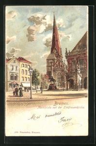 Lithographie Bremen, Marktplatz mit der Liebfrauenkirche