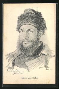 Künstler-AK Porträt des Sibiriers Lesow Kaluga
