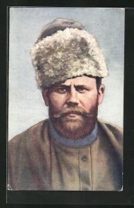 AK Russischer Kriegsgefangene mit Pelzmütze