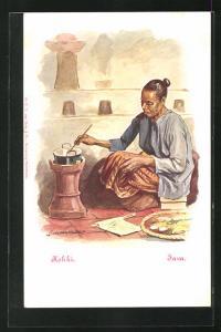 Künstler-AK Java, Kokki, Frau beim Kochen