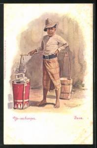 Künstler-AK Java, Getränkehändler in einer Gasse