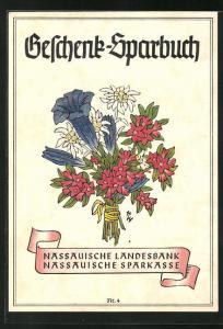 AK Geschenk-Sparbuch der Nassauischen Landesbank und Sparkasse, Alpenblumen-Strauss