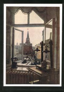 AK Moskau, Lenin-Kabinett im Kreml, Blick aus dem Fenster