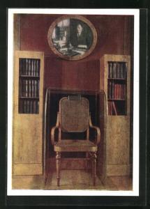 AK Moskau, Lenin-Kabinett im Kreml, Bildnis Lenins über einem Stuhl