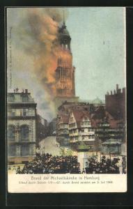 AK Hamburg-Neustadt, Brand der Michaeliskirche 1906