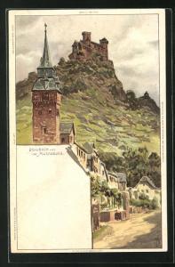 Künstler-AK Carl Biese: Braubach, Ortsansicht & Marksburg