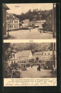 AK Berggiesshübel, Unwetter-Katastrophe 1927, Strasse vor und nach dem Unwetter