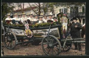 AK Bad Tölz, Auf dem Leonardifest, Besucher im Festwagen
