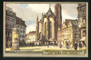 Steindruck-AK Würzburg, Marienkapelle und Haus zum Falken