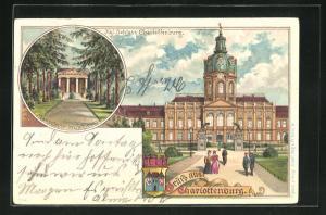 Lithographie Berlin-Charlottenburg, Kgl. Schloss Charlottenburg, Mausoleum im Schlosspark, Wappen