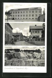 AK Langenaltheim, Blick auf Steinbruch, Zentralschulhaus und Hauptstrasse