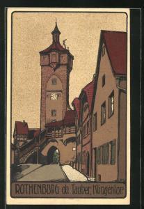 Steindruck-AK Rothenburg, Partie am Klingentor