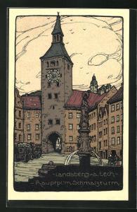 Steindruck-AK Landsberg, Hauptplatz mit Schmalzturm