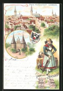 Lithographie Lübeck, Ortsansicht, Holstentor, Mädchen in Tracht, Wappen, Reklame für Chocolat Suchard