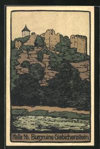Steindruck-AK Halle / Saale, Burgruine Giebichenstein