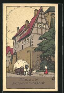 Steindruck-AK Minden, Haus in der Marienstrasse