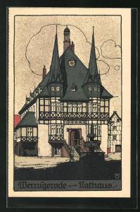 Steindruck-AK Wernigerode, Partie am Rathaus