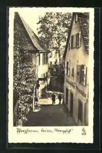 AK Pforzheim, Strassenpartie am Schloss-Café