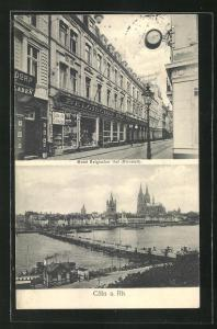 AK Köln, Hotel Belgischer Hof, Stadt-Panorama mit Dom