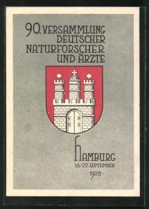 AK Hamburg, 90. Versammlung Deutscher Naturforscher und Ärzte 1928, Stadt-Wappen