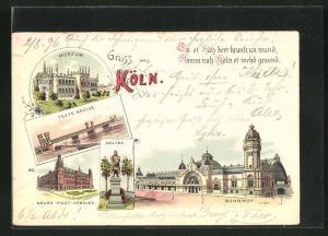 Lithographie Köln, Museum, Bahnhof, neues Post-Gebäude