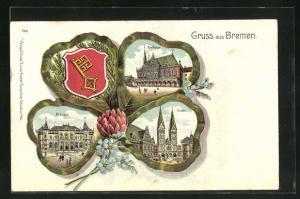 Passepartout-Lithographie Bremen, Ansichten auf Kleeblatt, Rathaus, Börse, Dom