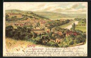 Künstler-AK Erwin Spindler: Rudolstadt, Panoramablick auf den Ort und ins Saaletal