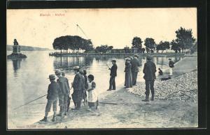 AK Zürich, Angler am Hafen