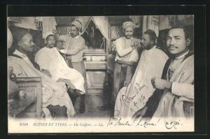 AK Scenes et Types, Un Coiffeur, Friseursalon für Männer