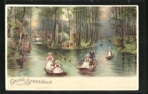 Lithographie Gruss aus dem Spreewald, Frauen in Spreewaldtrachten in Booten