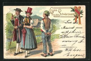 Lithographie Gruss aus dem Schwarzwald, Männer und Frauen in Trachten mit Prägung