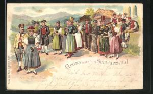 Lithographie Gruss aus dem Schwarzwald, Männer und Frauen in Trachten