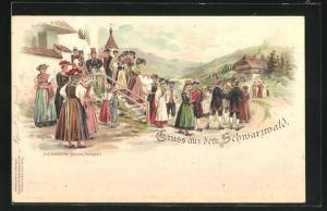 Lithographie Gruss aus dem Schwarzwald, Schwarzwälder Bauern-Hochzeit