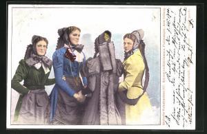 Lithographie Furtwangen, Badische Volkstrachten, Schwarzwälderinnen