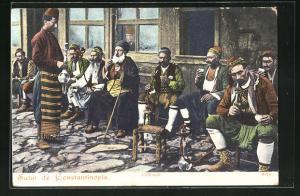 AK Constantinople, Cafe-turk, Türkische Männer rauchen Wasserpfeife