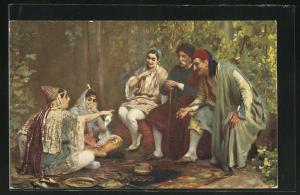 AK Juifs à un jour de fete, Jüdische Männer und Frauen im Gespräch