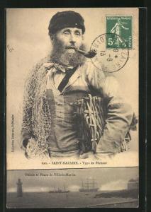AK Saint-Nazaire, Type de Pecheur, Pointe et Phare de Ville-es-Martin