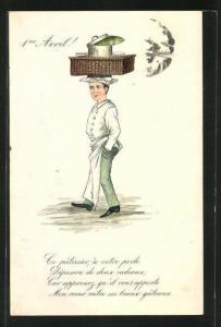 AK Junger Koch balanziert den Korb mit einem Topf auf seinem Kopf