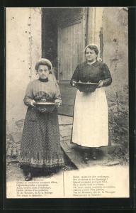 AK Le Cassoulet, zwei Frauen mit Eintopf in Schüsseln, Rezept