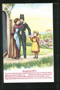 AK Bergmannskind, Frau und Tochter verabschieden den Bergmann