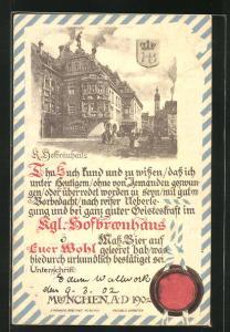 AK München, K. Hofbräuhaus, Urkunde darüber freiwillig das erste Mass getrunken zu haben